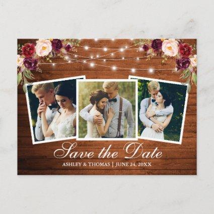 Rustic Wood Burgundy Floral 3 Photo Save The Date Invitation