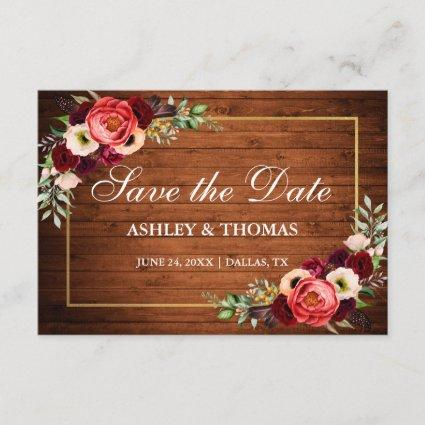 Rustic Wood Burgundy Floral Boho Save The Date