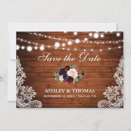 Rustic Wood Burgundy Floral Lace Save the Date