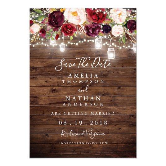 Rustic Wood Burgundy Floral Lights Save The Date Card