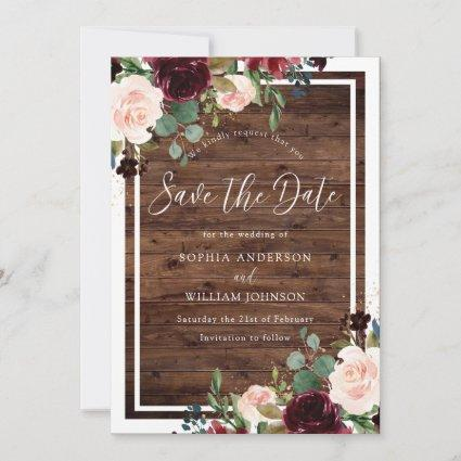 Rustic Wood Burgundy Red Wine Flowers Wedding Save The Date