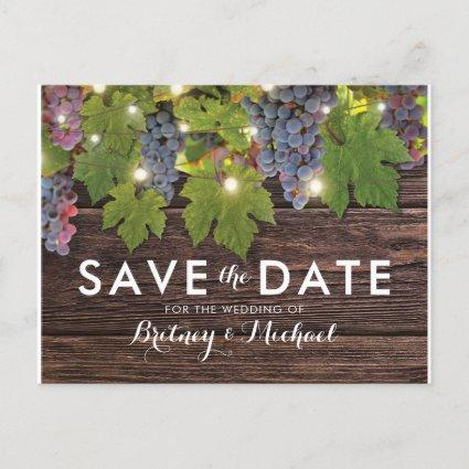 Rustic Wood Country Winery Wedding Save the Date Announcement