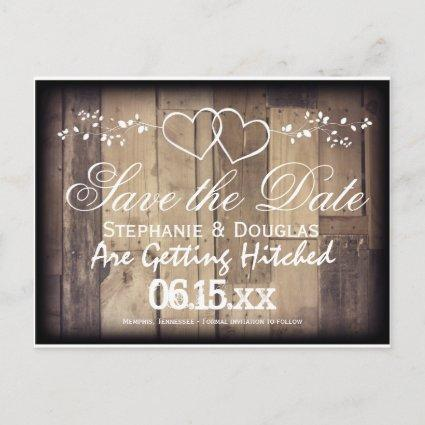 Rustic Wood Double Hearts Save the Date Cards