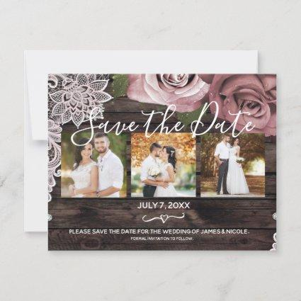 Rustic Wood Dusty Pink Roses Photo Save the Date