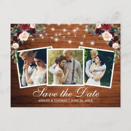 Rustic Wood Floral 3 Photo Save The Date Invitation