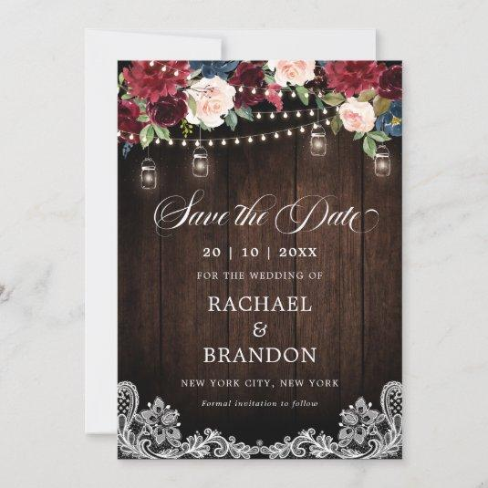 Rustic Wood Floral Mason Jar Save the Date