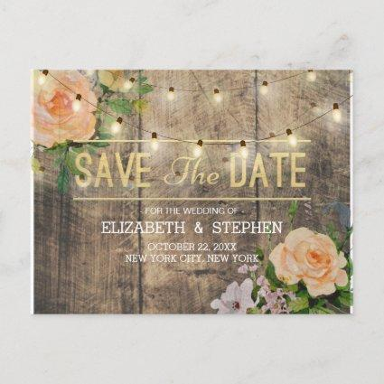 Rustic Wood Floral String Lights Save The Date Announcement