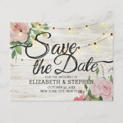Rustic Wood Floral String Lights Wedding Save Date Announcement