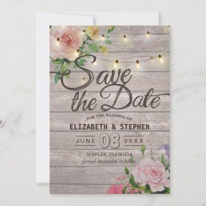 Rustic Wood Floral String Lights Wedding Save Date Save The Date