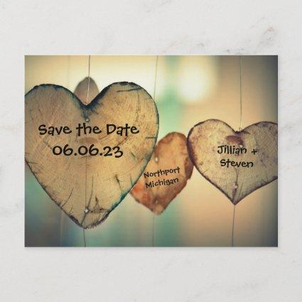 Rustic Wood Hearts - Save the Date Post