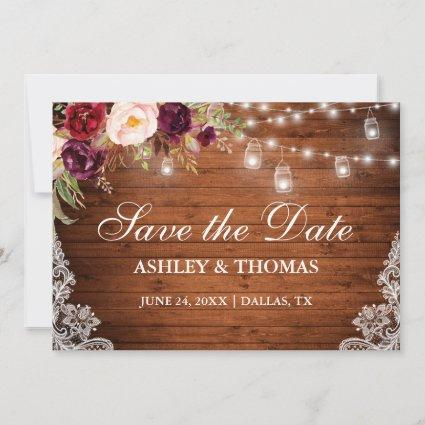 Rustic Wood Jar Lights Floral Lace Save the Date