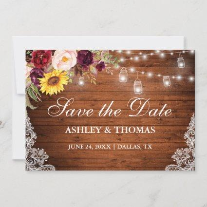 Rustic Wood Jar Lights Mixed Floral Lace Save The Date