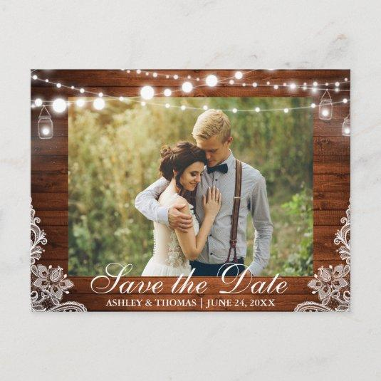 Rustic Wood Jar Lights Save the Date Back Text Announcements Cards