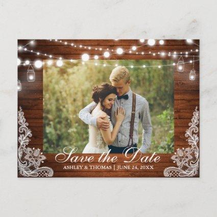 Rustic Wood Jar Lights Save the Date Back Text Announcement