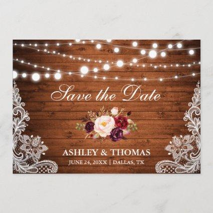 Rustic Wood Lace Burgundy Floral Save the Date