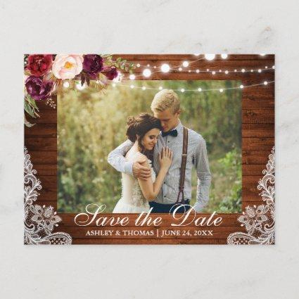 Rustic Wood Lace Floral Save the Date Back Text Announcement