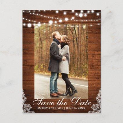 Rustic Wood Lace Lights Save the Date Back Text Announcement