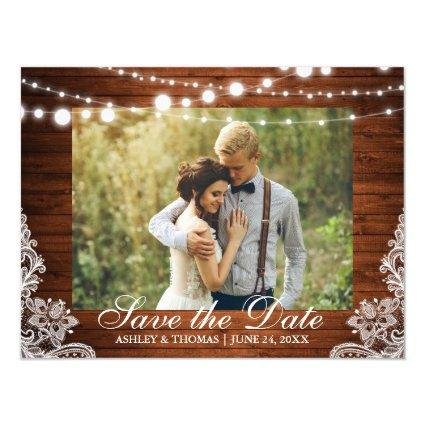 Rustic Wood Lace Lights Save the Date Engagement Magnetsic Invitation