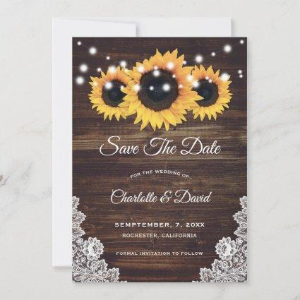 Rustic Wood Lace Sunflower Save The Date Card