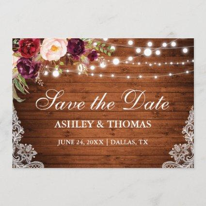 Rustic Wood Lights Floral Lace Save the Date