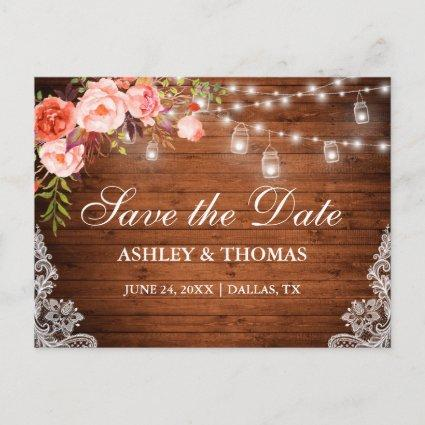 Rustic Wood Lights Jars Coral Floral Save the Date Announcements Cards
