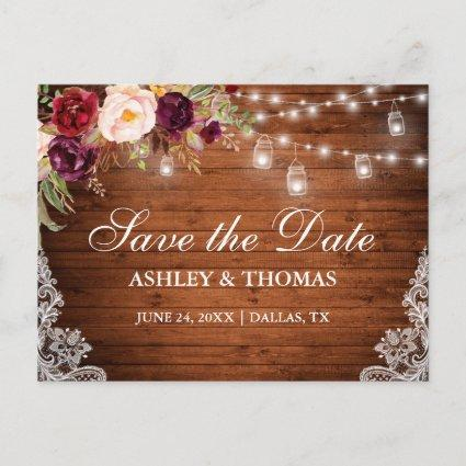 Rustic Wood Lights Jars Lace Floral Save the Date Announcement