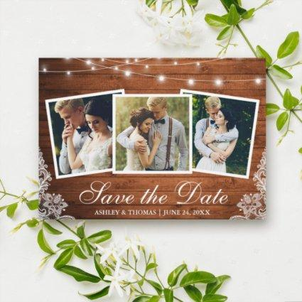 Rustic Wood Lights Lace 3 Photo Save The Date Card