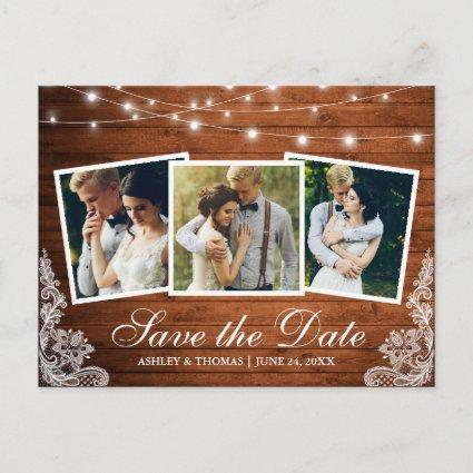 Rustic Wood Lights Lace 3 Photo Save The Date Invitation