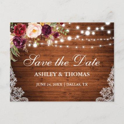 Rustic Wood Lights Lace Floral Save the Date Announcement
