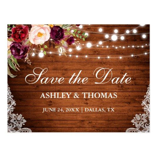 Rustic Wood Lights Lace Floral Save the Date Cards