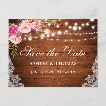 Rustic Wood Lights Lace Pink Floral Save the Date Announcements Cards
