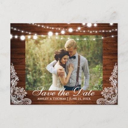 Rustic Wood Lights Lace Save the Date Back Text Announcement