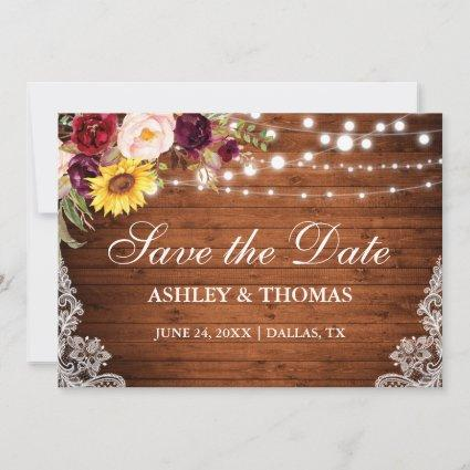 Rustic Wood Lights Mixed Floral Lace Save The Date
