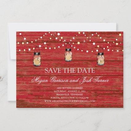 Rustic Wood Mason Jar and Lights Save the Date