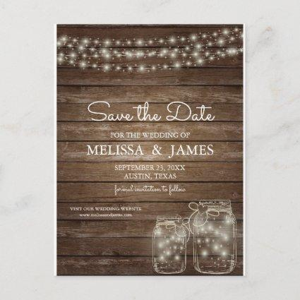 Rustic Wood Mason Jar Lights Save The Date Announcement