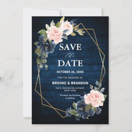 Rustic Wood Navy Blue Blush Pink Geometric Wedding Save The Date
