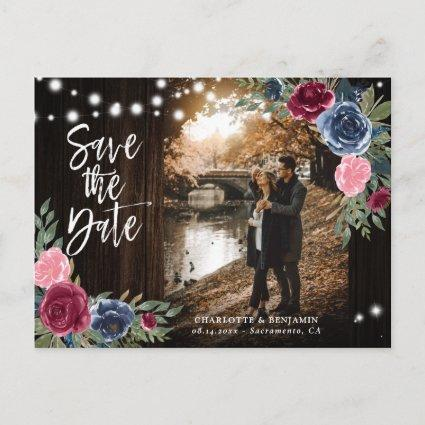 Rustic Wood Navy Blue Burgundy Save The Date Photo