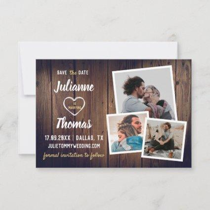 Rustic Wood Photo Collage Elegant Wedding Save The Date