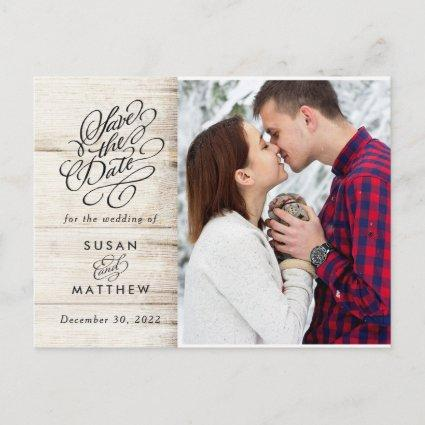 Rustic Wood Photo Save the Date Announcement