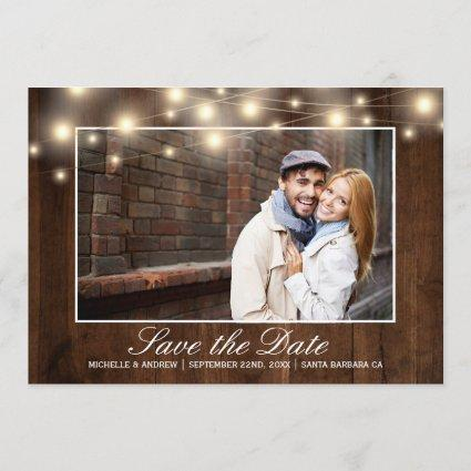 Rustic Wood Photo String Lights | Save the Date