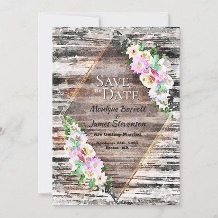 Rustic Wood Pink Floral Geometric Wedding Save The Date