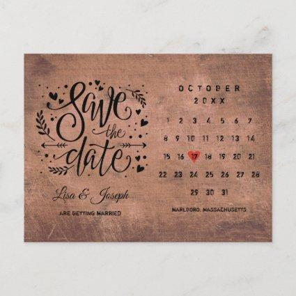 Rustic Wood Save the Date Calendar Red Love Heart Announcement