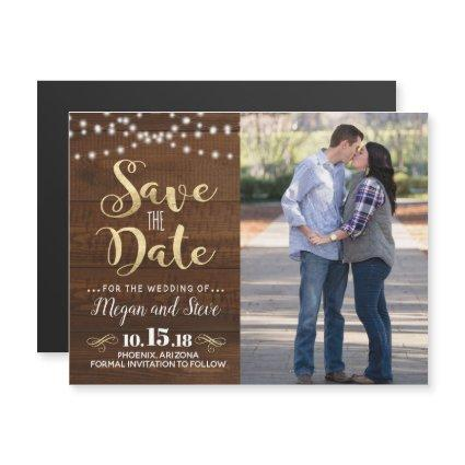 Rustic Wood Save the Date Magnet