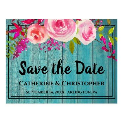 Rustic Wood Save the Date Rose Floral Announcement