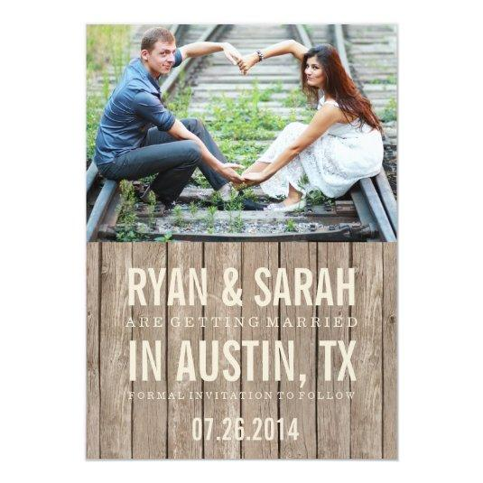 RUSTIC WOOD SAVE THE DATES 5X7 PAPER INVITATION CARD