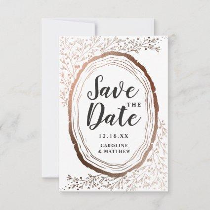 Rustic Wood Slice Copper Foil Autumn Fall Wedding Save The Date