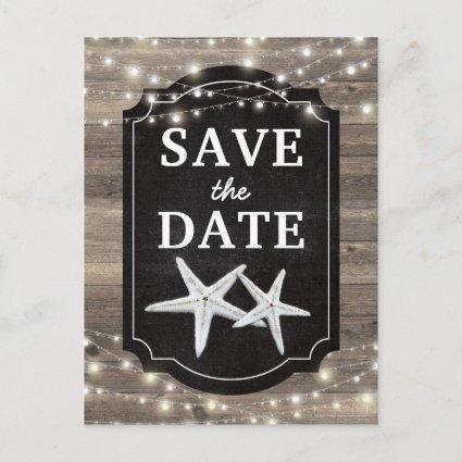 Rustic Wood Starfish Save the Date Lights Announcement