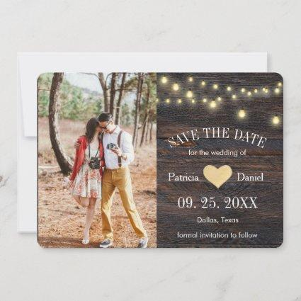 Rustic Wood String Lights Heart Photo Wedding Save The Date