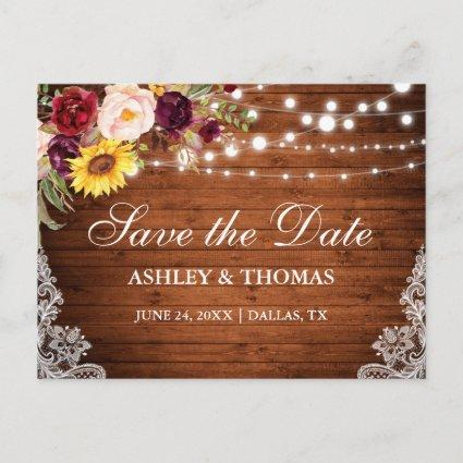 Rustic Wood String Lights Lace Floral Announcement