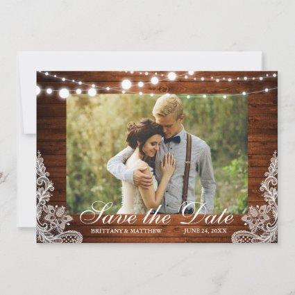 Rustic Wood String Lights Lace Photo Save The Date